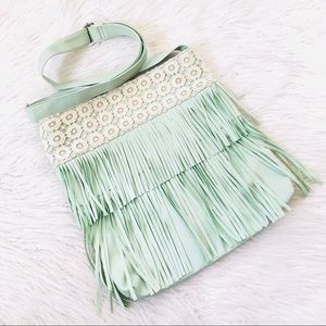 Handbags - Mint Green Floral Lace Boho Fringe Bag